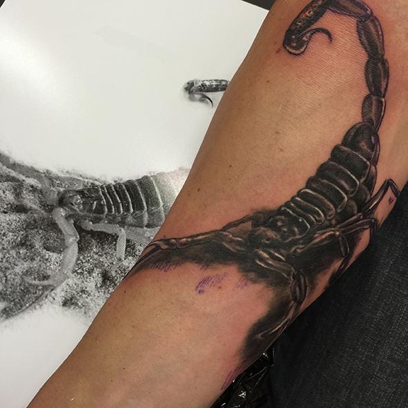 tatouage d'un scorpion réaliste sur un bras