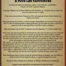 Nous, actuellement dans le Cantal, invitons les tatoueurs français et étrangers, avec leurs idées, capacités et envies de faire bouger les choses,  à se mettre en rapport avec nous.